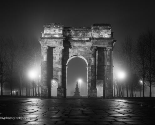 Nocturnal view of Glasgow's famous Arc
