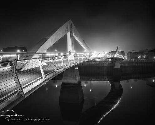 The Squinty bridge (Clyde Arc bridge) across the Clyde in Glasgow